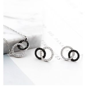 Double Circle Round 925 Sterling Silver Set
